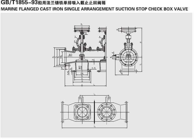 船用法兰铸铁单排双联截止阀箱GB1855-93